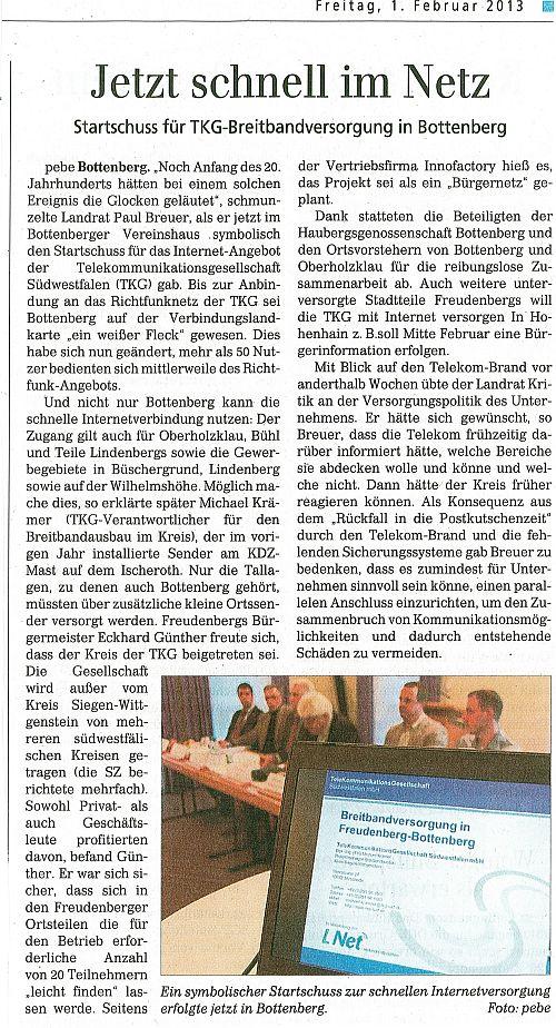 Siegener Zeitung, 1.02.2013