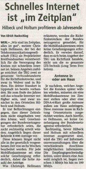 Soester Anzeiger, Dienstag 22. Mai 2012