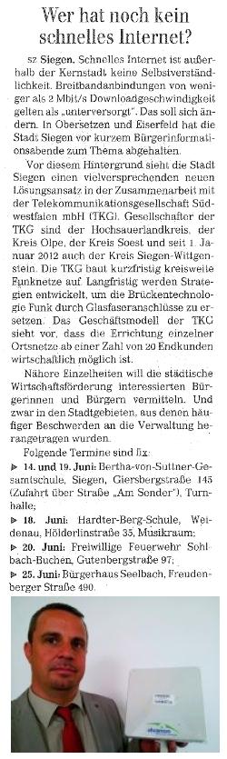 Siegener Zeitung, 08.06.2012