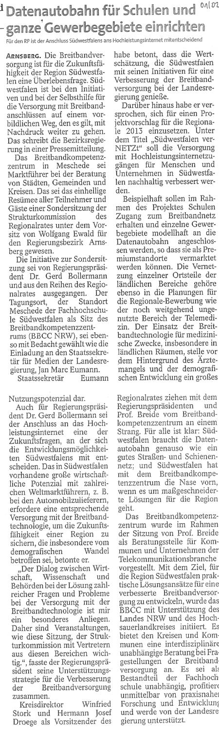 Westfalenpost vom 16.02.2011