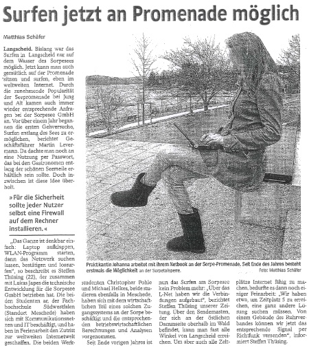 Westfalenpost vom 6.1.2012
