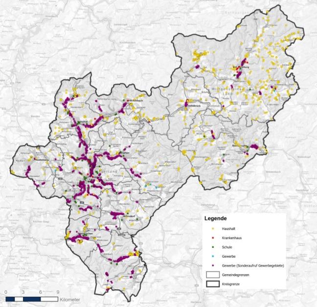 Die Karte zeigt die gefördert zu versorgenden Anschlüsse im Kreisgebiet Siegen-Wittgenstein.